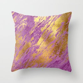 Purple Faux Marble With Bling Gold Glitzy Veins Throw Pillow