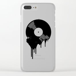 Black Melting Viny Record Clear iPhone Case