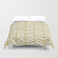 geometric Duvet Covers featuring Gold Herringbone by Cat Coquillette