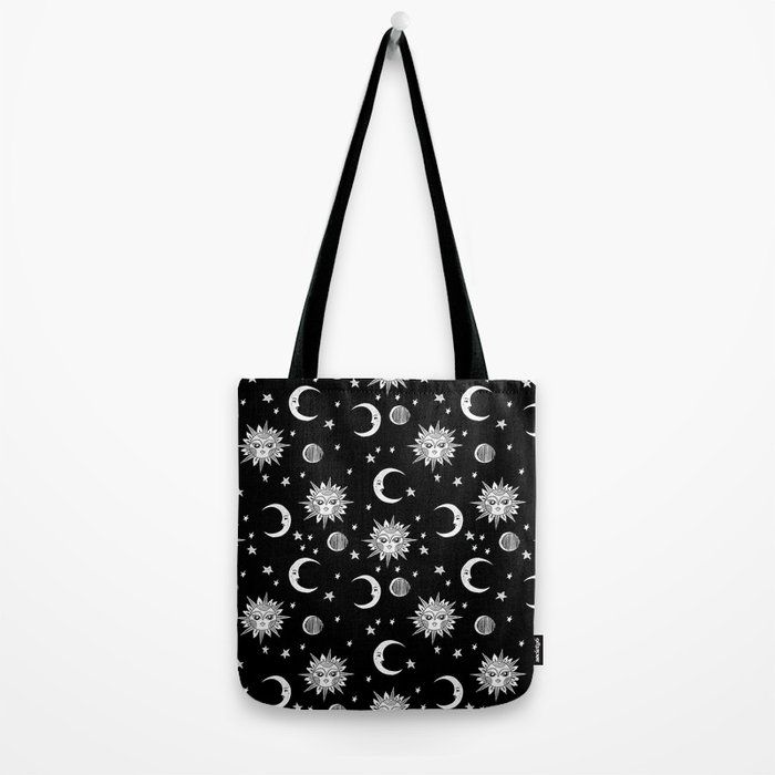 Linocut black and white sun moon and stars outer space zodiac astrology gifts Tote Bag