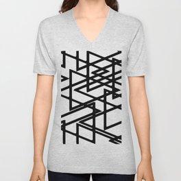 Interlocking Black Triangles Artistic Design Unisex V-Neck