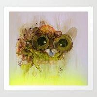 playstation Art Prints featuring Weedy Playstation Frankenstein by Kid Doom