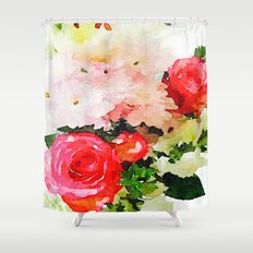 Garden Roses Watercolor Shower Curtain