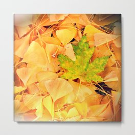 Leaves Yellow and Green Metal Print