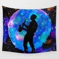 jazz Wall Tapestries featuring Jazz by Saundra Myles