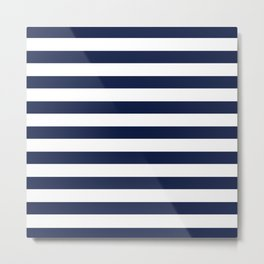 Nautical Navy Blue and White Stripes Metal Print