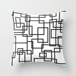 Black and White Cubical Line Art Throw Pillow