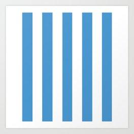 Celestial blue - solid color - white vertical lines pattern Art Print