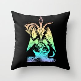 Pastel Rainbow Baphomet Throw Pillow