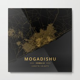 Mogadishu, Somalia - Gold Metal Print