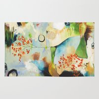 "flora bowley Area & Throw Rugs featuring ""Rainwash"" Original Painting by Flora Bowley by Flora Bowley"