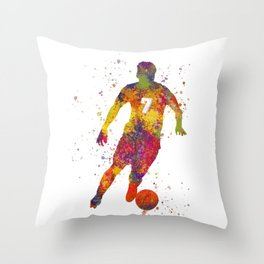 Soccer player isolated 02 in watercolor Throw Pillow