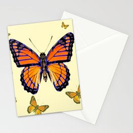 SPRING FLYING ORANGE MONARCH BUTTERFLIES ON CREAM Stationery Cards
