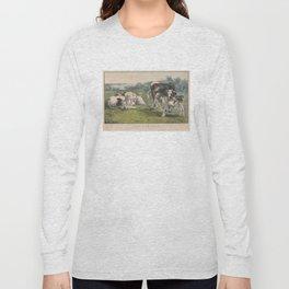 Vintage Cattle Farm Illustration (1856) Long Sleeve T-shirt