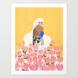 Waiting in bunk of flowers Art Print