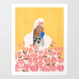 Waiting in bunk of flowers Art Print