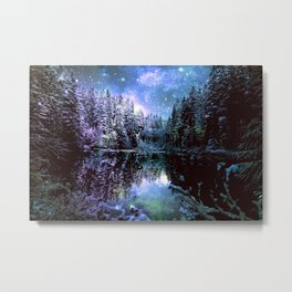 A Cold Winters Night : Violet Teal Green Winter Wonderland Metal Print