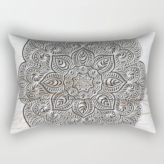 Mandala on White Wood Rectangular Pillow
