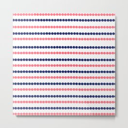 Modern nautical blue coral polka dots stripes pattern Metal Print