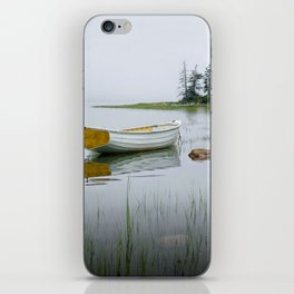 White Maine Boat on a Foggy Morning iPhone Skin