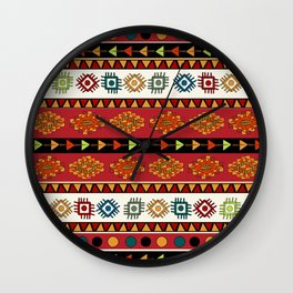 Abstract Ethnic pattern in vivid colors. Wall Clock