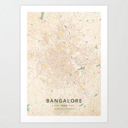 Bangalore, India - Vintage Map Art Print