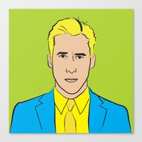 ryan gosling Canvas Prints featuring Ryan Gosling by kitten mitten illustration