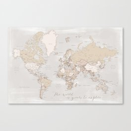 """The world is yours to explore, rustic world map with cities, """"Lucille"""" Canvas Print"""