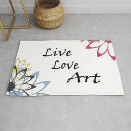 Live Love Art Inspirational Floral Graphic Rug