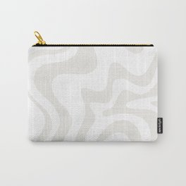 Liquid Swirl Abstract Pattern in Nearly White and Pale Stone Carry-All Pouch