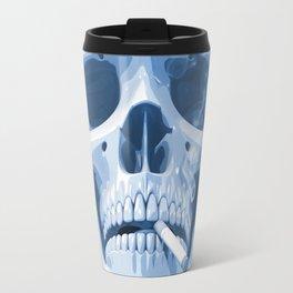 Skull Smoking Cigarette Blue Travel Mug