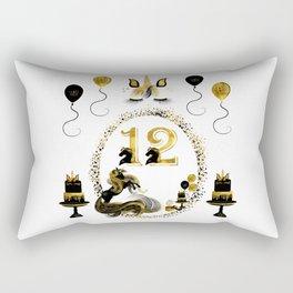 Pretty Golden Unicorn Birthday Girl 12 Years Born 2006 Rectangular Pillow