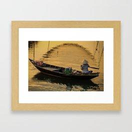 Boat on the River at Sunset Framed Art Print