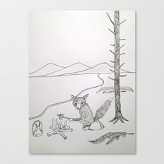 camping fox Canvas Print