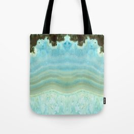 Turquoise Aquamarine Blue Gem Stone Agate Crystal Tote Bag
