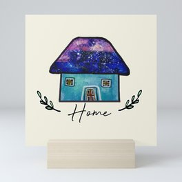 Hand Painted Watercolor Milky Way Roof Top Houses Mini Art Print