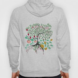 Fairy seamless pattern garden with plants, tree and flowers Hoody
