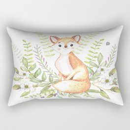 Little fox among flowers and leaves Rectangular Pillow