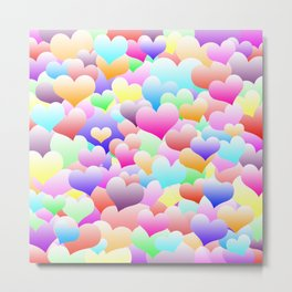 Bubble Hearts Light Metal Print