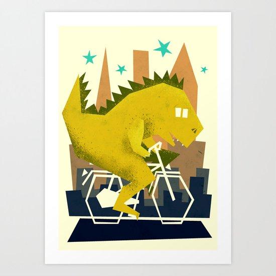 Godzilla going to town Art Print