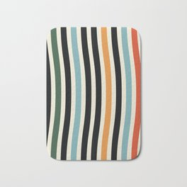 Raincore - Mid Century Modern Rainbow Retro Lines Abstract Pattern - Blue Yellow Green Red Black Bath Mat