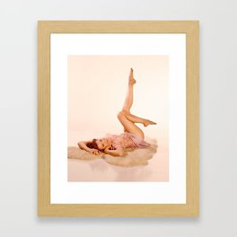 """""""Kicking Back"""" - The Playful Pinup - Sexy Pin-up Girl on Fur Rug by Maxwell H. Johnson Framed Art Print"""