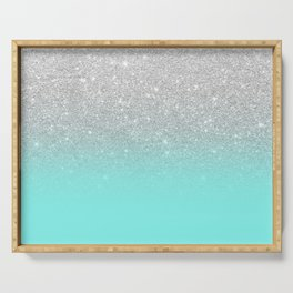 Modern girly faux silver glitter ombre teal ocean color bock Serving Tray