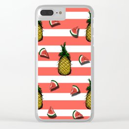 Pines and watermelons Clear iPhone Case