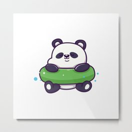 Cute Panda With Swim Ring Icon Illustration Animal Summer Icon Concept Isolated Flat Cartoon Style Metal Print