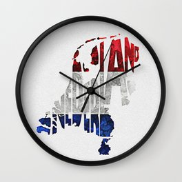 The Netherlands / Nederland Typographic Flag Map Art Wall Clock