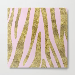 Golden exotics - Zebra and soft rose Metal Print