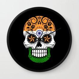 Sugar Skull with Roses and Flag of India Wall Clock