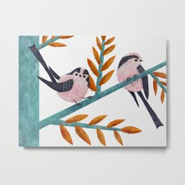 Happy Long-Tailed Tits Metal Print