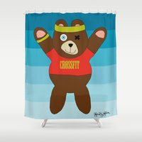 crossfit Shower Curtains featuring Crossfit Bear  by Gabriel J Galvan